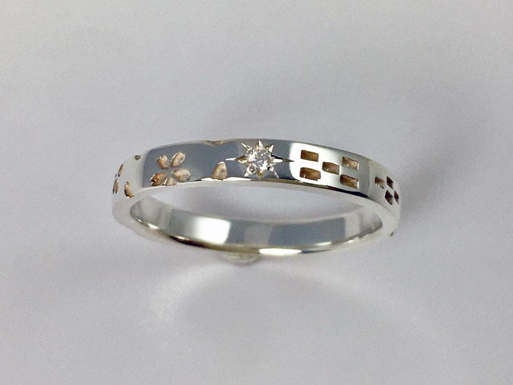 桜ミンサー指輪