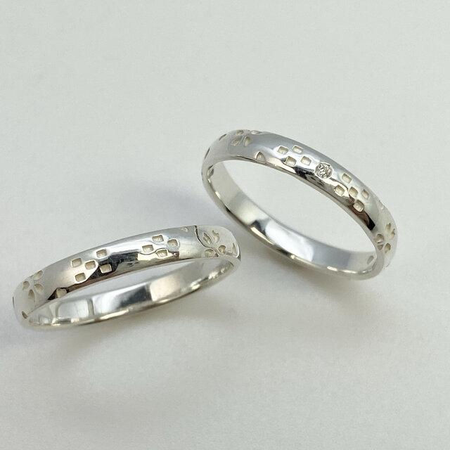 桜ミンサー指輪 甲丸