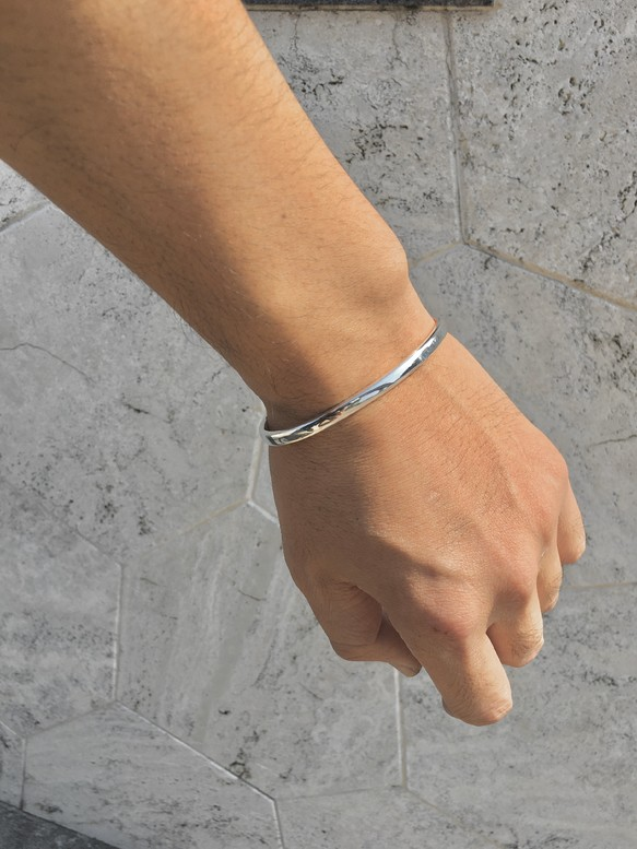 鍛造純銀バングル(甲丸) -5ミリ幅-