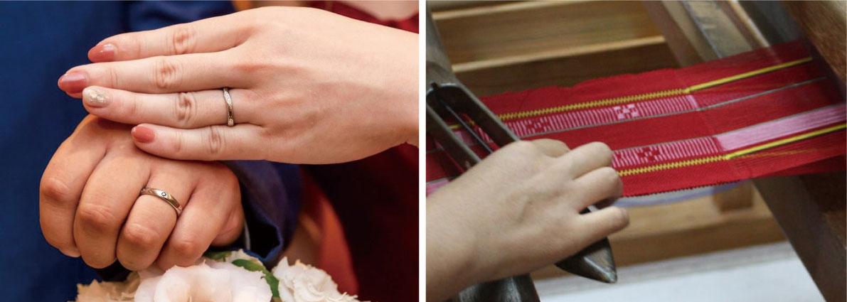 ミンサー織柄の指輪