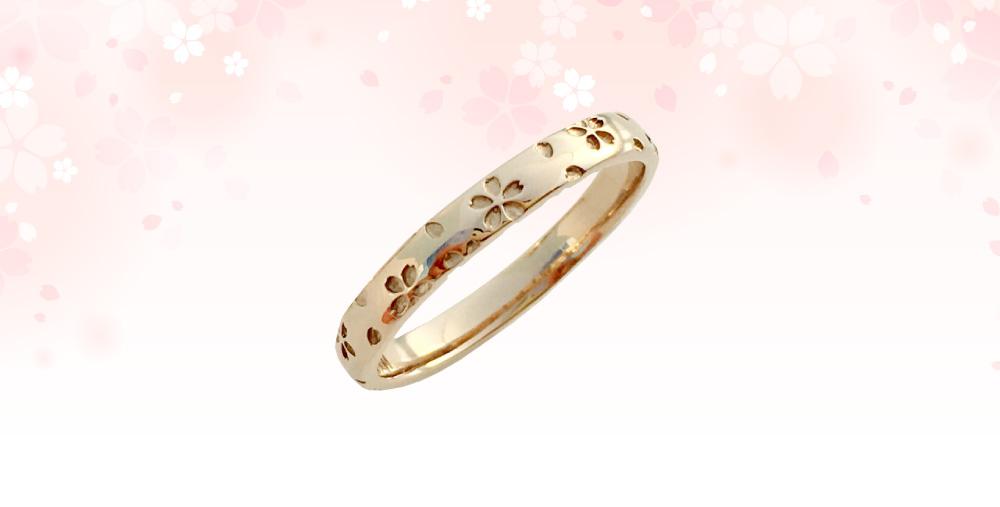 桜指輪ピンクゴールド単品ダイヤ無し