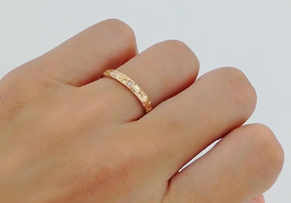 桜指輪ピンクゴールド石あり単品
