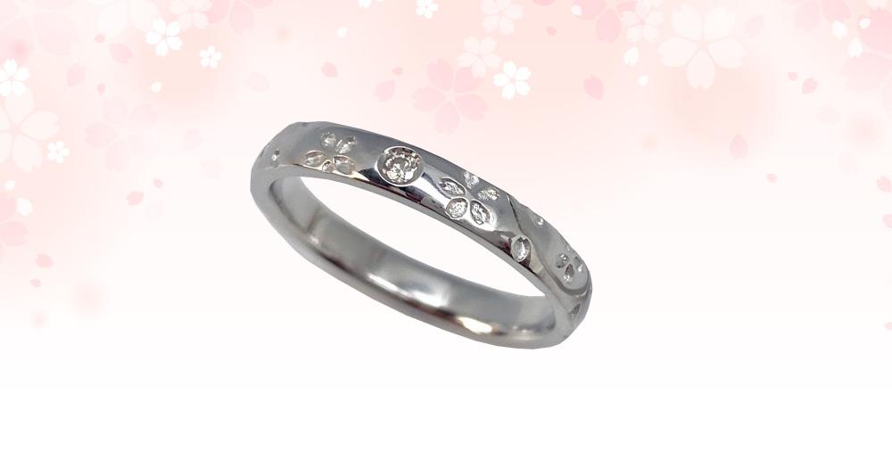 桜指輪プラチナ単品ダイヤあり